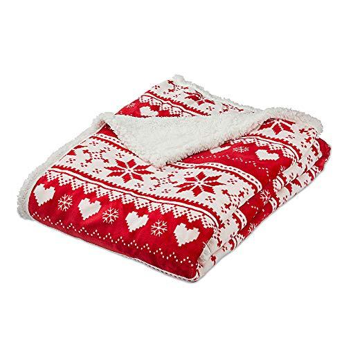 Cepewa Wohndecke Kuscheldecke in rot Nordic Design im Beutel ca.130x170cm mit extra Super Soft Fleece Rücken Teddyfell