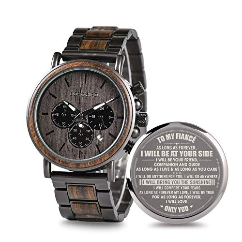Engraved Personalized Wooden Watch for Fiancé Customized Wooden Watches for Men Anniversary Birthday Personalized Watch
