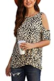 SMENG Mujeres Leopard Print Camisas Moda Blusa anudada Fuera del hombro Tops de manga corta - beige - Medium