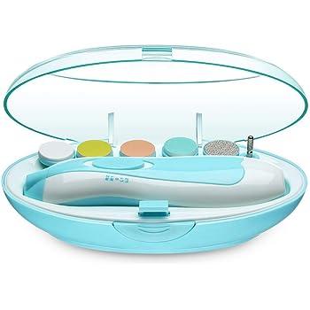 JATEN電動ネイルケア、ベビー用ネイルケアキット 赤ちゃん爪切りセット 赤ちゃんから大人まで使える LEDライト 超静音モーター搭載 低振動 低騒音 アタッチメント6種類付き 角質ケア(ブルー)