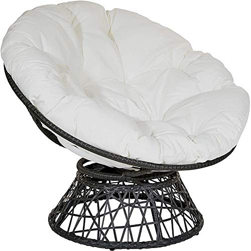 xuzomedia Thick Papasan Chair Cushion Outdoor Egg Seat Cushions Comfortable Hanging Chair Cushion Hammocks Swing Pad Patio Chair Pad Home Floor Cushion for Indoor Outdoor (39.37×39.37inch) (White)