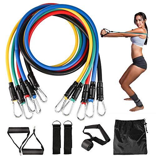 Resistance Bands Set, 11er Pack Fitnessband Set Stapelbar bis zu 100 lbs, widerstandsband Set mit Expander, Griffen, Türanker, Fußschlaufen, Tragetasche für Kraft, Schlank, Yoga, Heim-Fitnessgeräte