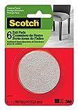 Scotch Felt Pads, Felt Furniture Pads for Protecting Hardwood Floors, Round, 2 in. Diameter, Beige, 6 Pads