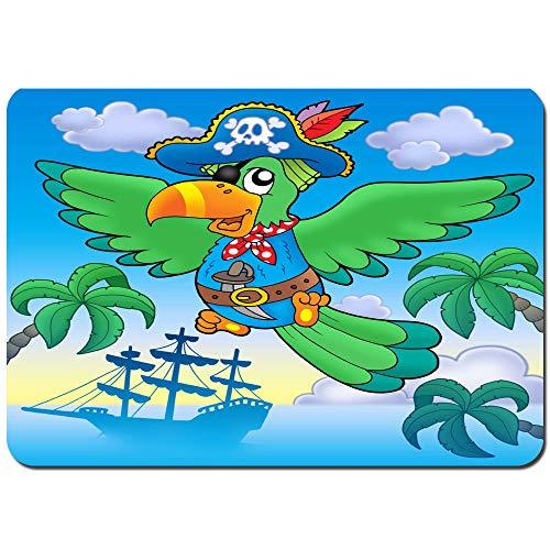YANAIX Alfombra de Baño,Un Loro Pirata Volador Verde con Barco,Súper Suave Multiuso...
