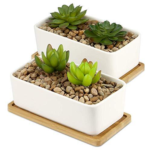 Maceta De Cerámica Y Base De Bambú | Jardinera suculenta para interiores y exteriores | Macetas de Cactus y Casitas Pequeñas | M&W [x2 Rectangular]