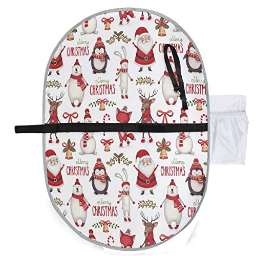 ZZXXB Merry Christmas Santa Claus Bear Baby Portable Changing Pad Waterproof Diaper Change Mat Large for Infant Quick Change