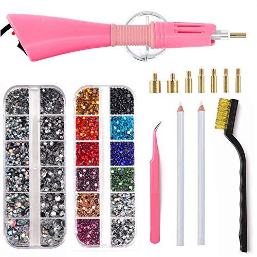 Blinginbox - Applicatore Hotfix, 4000 pezzi, set di 2 scatole di strass con 7 diversi ugelli, kit di pulizia, pinzette, spazzolino