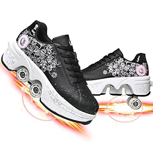Doble Rodillo Zapatos De Skate Zapatos Invisible De Polea De Zapatos Zapatillas De Deporte Niños Zapatos con Ruedas Patines De Ruedas Ajustables