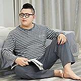 STJDM Bata de Noche,Casual Interior Winter Plus Size Ropa de Dormir para Hombre Puro algodón Mangas largas Pijamas de Rayas Hombres Conjuntos de Pijamas Homewear 4XL100-120kg Gris