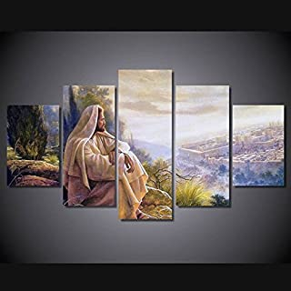 April Art Wall Poster Christian Faith Jesus Printed Modern Painting Image for The Decorative Home of The Living Room 5 Panel Jesus Thorn Painting (I, 10x16inchx2pcs,8x20inchx2pcs, 8x24inch x1pc)