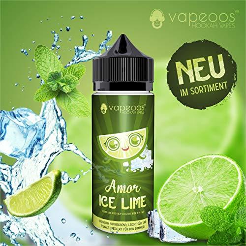 VAPEOOS Premium E-LIQUIDS | AMOR I Ice Limette | 50ml für E-Zigaretten und E-Shishas | 0mg (ohne Nikotin) | Made in Germany!