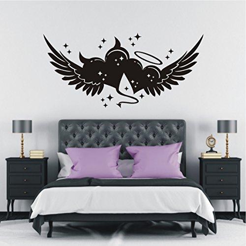 HomeTattoo ® WANDTATTOO Wandaufkleber Herz Engel Teufel Sterne Liebe Schlafzimmer 417 XL ( L x B ) ca. 58 x 140 cm (dunkelgrau 073)