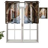 Hiiiman Cortinas de tratamiento para ventanas con ojales en la parte superior, arco de piedra medieval Francia, juego de 2, 42 x 24 pulgadas, paneles opacos decorativos para el hogar para cocina