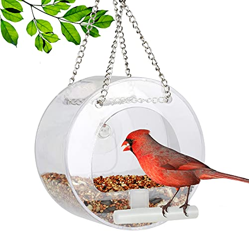 Vogelfutterspender zum Aufhängen, mit Kette, abnehmbares Fenster, für Wildvögel, Außen, Vogelhaus, Finke, Kardinale, Specht, Jay Rotkehlchen, Goldfink, rund
