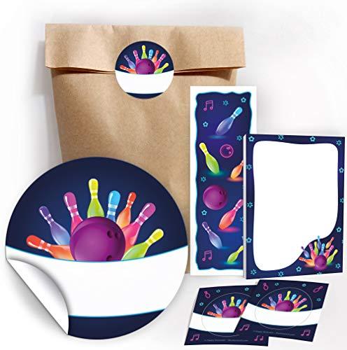 12 Geschenktüten / Natur + 12 Aufkleber + 12 Lesezeichen + 12 Mini-Notizblöcke Bowling / neon / Mitgebsel Gastgeschenk für Kinder Jungen Mädchen beim Kindergeburtstag Geburtstag Bowlingparty