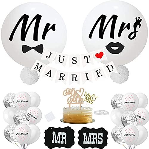Globos gigantes de papel con flores de papel para decoración de boda, color blanco, con carteles MR y MRS