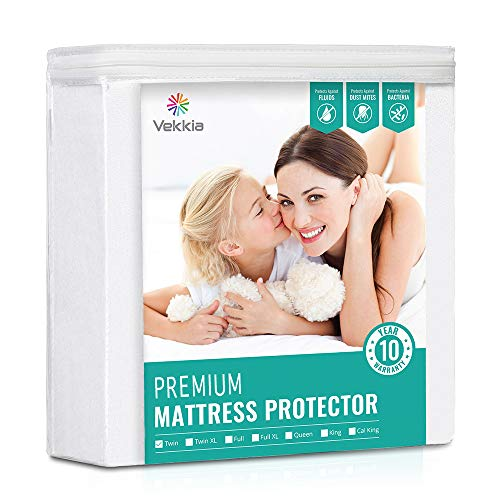 Vekkia Premium Twin Size Mattress Protector Waterproof Bed Cover Soft Cotton Terry Surface Fabric Breathable Quiet Hypoallergenic Pet amp Fluids Proof Safe Sleep for Adults amp Kids Twin