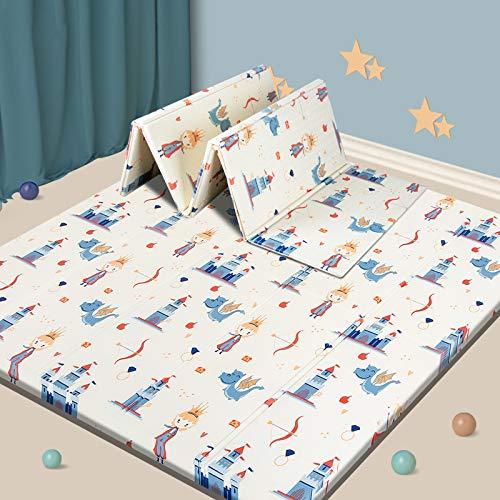 "Baby Play mat, Foam Playmat Kids Folding Mat Reversible Waterproof Non Toxic, Crawling Mat for Babies, Infants, Toddler, 71"" x 79"" x 0.6"" (Prince)"