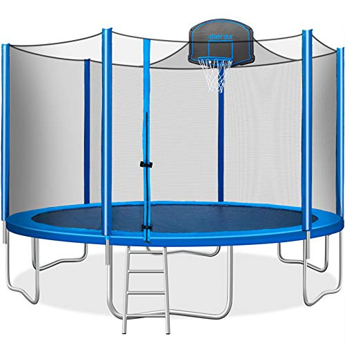 Merax 15 FT Trampoline with Safety Enclosure Net, Basketball Hoop and...