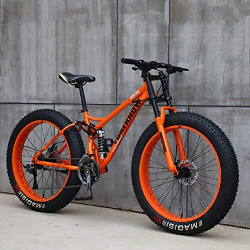 Wind Greeting 26 Zoll Mountainbike,24 Gang-Schaltung Erwachsene Fette Reifen Fahrrad,Rahmen aus Kohlenstoffstahl,Vollfederung Scheibenbremsen Hardtail Bike (Orange)