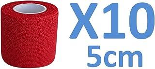 Venda Cohesiva Rojo10 rollos x 5 cm x 4,5 m autoadhesivo flexible vendaje, calidad profesional, primeros auxilios Deportes Wrap Vendas - Pack de 10