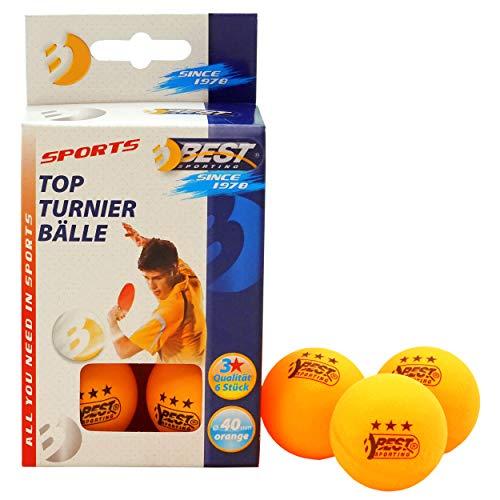Best Sporting Tischtennisbälle, Qualität: 3 Sterne, 6 Stück, Farbe: Orange