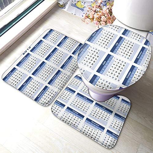 RedBeans - Juego de 3 alfombras de baño antideslizantes de franela para baño, plantillas de calendario 2019, suave y antideslizante, alfombrilla de ducha