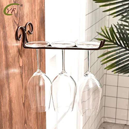 FLTRADE 2 estuco Single Row Vintage Bronce – Soporte para estanterías Acero Inoxidable 28 cm Carriles Copa de Vino Vino Estante Cup Hangers Rack