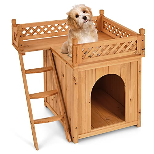 GYMAX Wooden Dog Cat House, Waterproof Puppy Kennel Shelter with Roof Terrace and Stairs, Luxury Pet Wood Room Crate for Home, Garden, Balcony and Patio