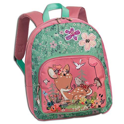 Fabrizio ORI206L - Mochila infantil, diseño de cervatillo y flores, color rosa y verde