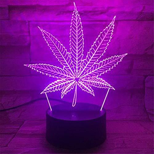 Lámpara de luz 3D con diseño de hoja de marihuana, cannabis luna, lámpara de mesa LED, lámpara de escritorio con control remoto para niños, Navidad, Halloween, cumpleaños