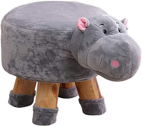PGS Ottomanen Fußschemel Tier Schuh Bench Familie Cartoon Hippo Schuhe Sitzbank, Kindermode Abnehmbare Stoffabdeckung Multifunktionales Sofa Bench (Color : Gray, Size : 29 * 27cm)