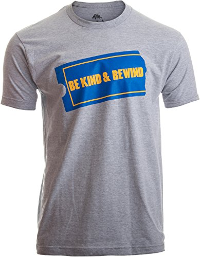Be Kind & Rewind | Funny Retro 90s Party Nostalgia 1990s Pop Culture VHS T-Shirt-(Adult,M) Heather Grey
