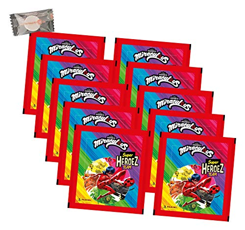 Panini Miraculous Ladybug Sticker - Miraculous Super Heroez Team (2021) - 10 Tüten - Miraculous Sammelsticker + stickermarkt24de Gum