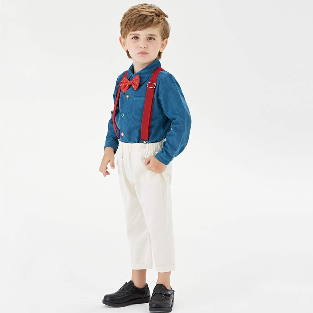 Moyikiss Studio Toddler Dress Suit Baby Boys Gentleman Clothes Sets Bow Ties Shirts Suspenders Pants Outfits