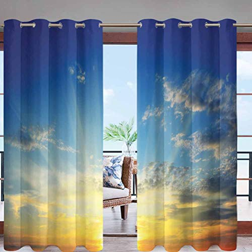 Outdoor Curtain Panel Thermal Insulated with Grommet Top Beaming Sun Above The Horizon W96 x L96 for Canopy/Pergola/Yard Privacy