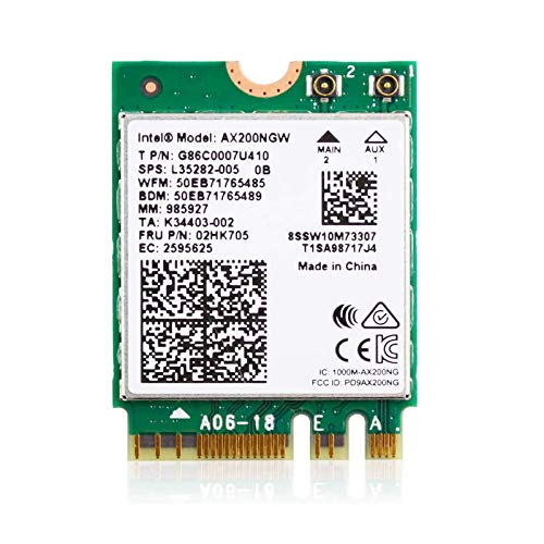 EDUP WLAN 6-Karte M.2 AX200 3000 Mbit/s Netzwerkadapter mit Bluetooth 5.1 Wifi 6 Modul MU-MIMO Dualband Wireless Karte 802.11AX WLAN Adapter für Laptop-PC mit Windows 10 64-Bit-Intel Modell AX200NGW