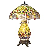 Serena D'Italia Elegant Tiffany Style Blue Green Glass Dragonfly Table Lamp with Lit Base, Handcrafted in The Antique Style of Louis Comfort Tiffany