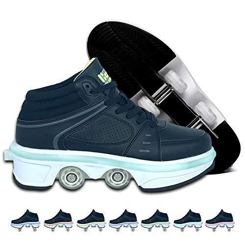 BHC Zapatillas de Skate 2 en 1 Deformación Parkour Zapatos, Cuatro Rondas de Zapatillas para Correr con Luces LED en 7 Colores, Zapatos para Caminar automáticos para niños Adultos