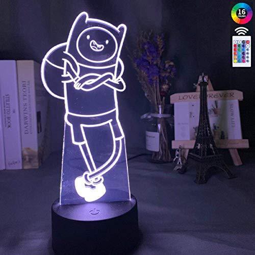 3D-Illusionslampe Nachtlicht 7Farben Automatisch wechselnder Touch-Schalter Schreibtischdekorationslampen Geburtstagsgeschenk mit Fernbedienung Perfekte Geschenke Abenteuerzeit Finn Portrait