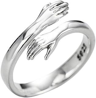 Enkomy Kram ring, justerbar ring i sterlingsilver Give Me a Hug Hands 925 silver kärlek kram händer öppen ring smycken för...