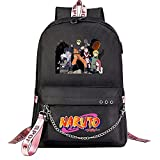 ZZGOO-LL Naruto/Sharingan/Hatake Kakashi with Chain USB Anime Cosplay Bookbag College Bag Mochila Backpack Escolar Black-B