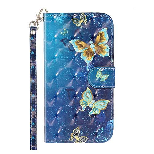 Homikon 3D PU Leder Hülle Muster Schutzhülle Brieftasche Ledertasche Wallet Handyhülle Kartensteckplatz Ständer Klapphülle Flip Case Cover Kompatibel mit Samsung Galaxy S5/S5 Neo - Schmetterling