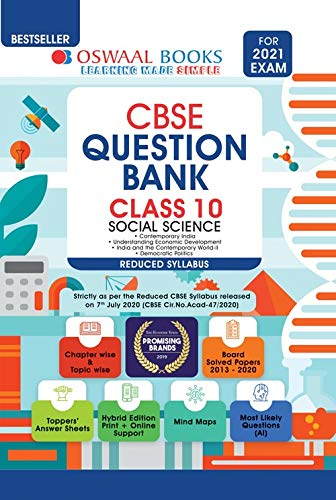 Oswaal CBSE Question Bank Class 10 Social Science (Reduced Syllabus) (For 2021 Exam) [Old Edition]