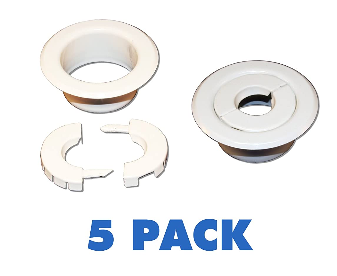 (5 Pack) White Split Semi Recessed 1/2
