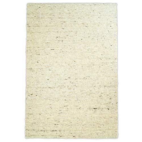 Hand-Web-Teppich | Reine Schur-Wolle im Skandinavischen Design | Wohnzimmer Esszimmer Schlafzimmer Flur Läufer | Grau Beige (Oslo Sand - 140 x 200 cm)