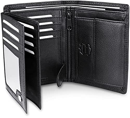 Frentree FRENTREE® Herren Geldbörse aus Nappa Leder mit RFID Schutz, 15 Kartenfächer, Hochformat Portemonnaie, Schwarz