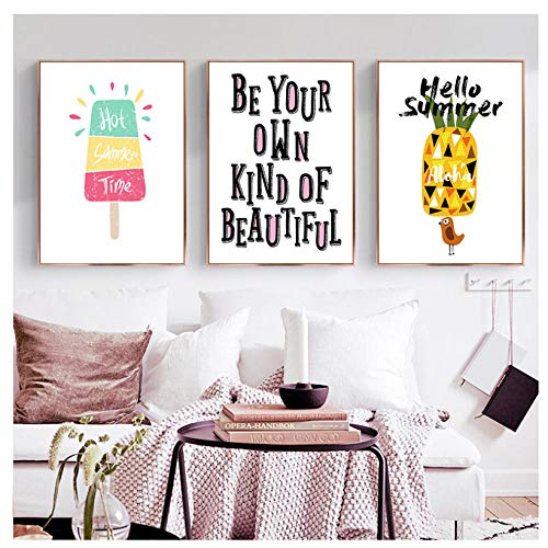 kaxiou Canvas prints Scandinavische Leuke Cartoon Fruit Ananas Ijs Engels Sentence Canvas Art Abstract Poster Foto Slaapkamer Decoratie-40X50Cmx3 Stks Geen Frame