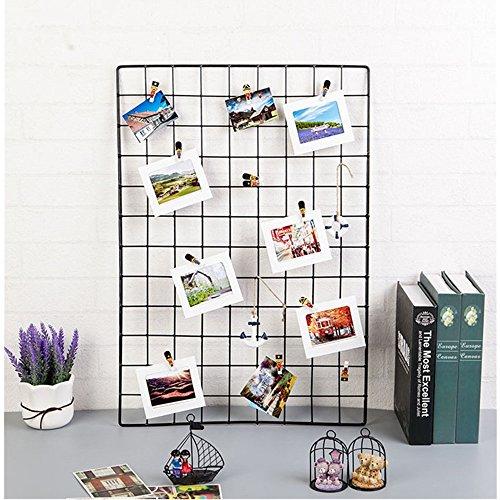 ShouYu DIY Grid Panel Foto Wand,Wandgitter,ins Mesh Wand,Multifunktion Gitterwand Deko,Memo Brett Organisator Regale (Schwarz 65)