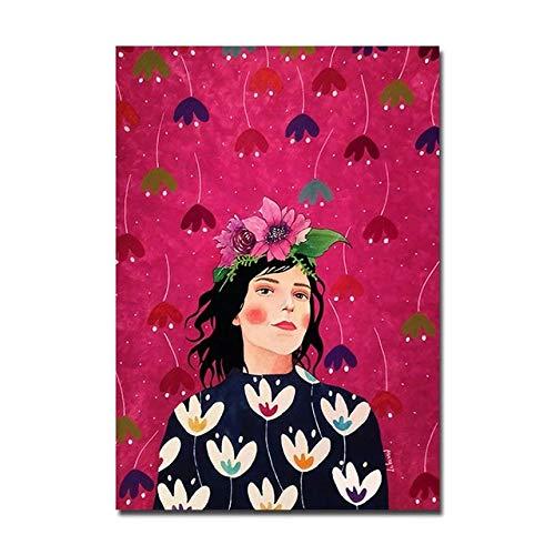 BGFDV Cartel Abstracto Moderno Chica de Moda Lienzo Pintura Flor Cartel impresión Mural Sala de Estar decoración de Arte de Pared